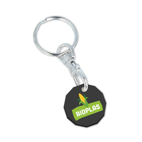 Bio-Plastic New £ Trolley Coin Keyring (Coloured)