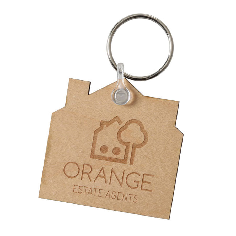 Wooden  House Keyring