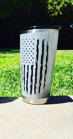 Distressed American Flag Tumbler - Veterans Edge