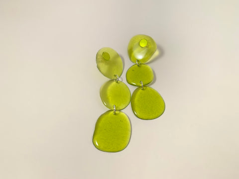 Triple Drop Earrings-Lime Jelly