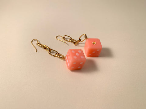 R2S: Dice Chain Earrings-Cotton Candy Dice
