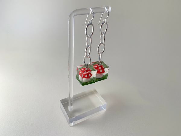 Amanita Cube Earrings-Silver Chains