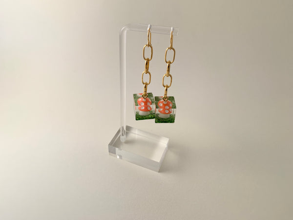 Amanita Cube Earrings-Gold Chains