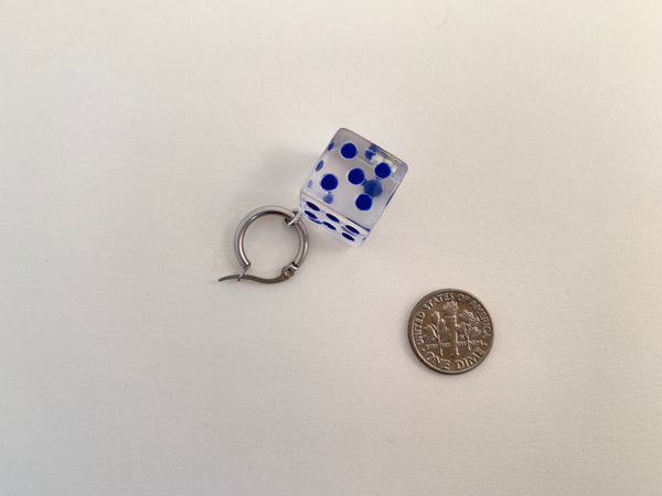 Dice Earring-Transparent/Blue Dot Single Hoop