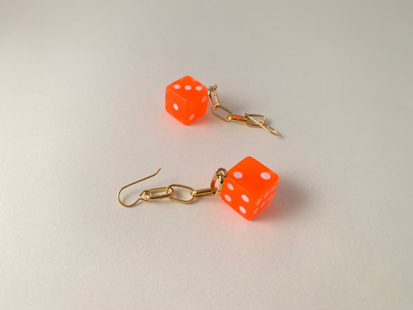 Dice Chain Earrings-Neon Orange Dice