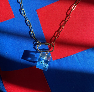 [Made To Order] Paperclip Necklace-Blue Dice