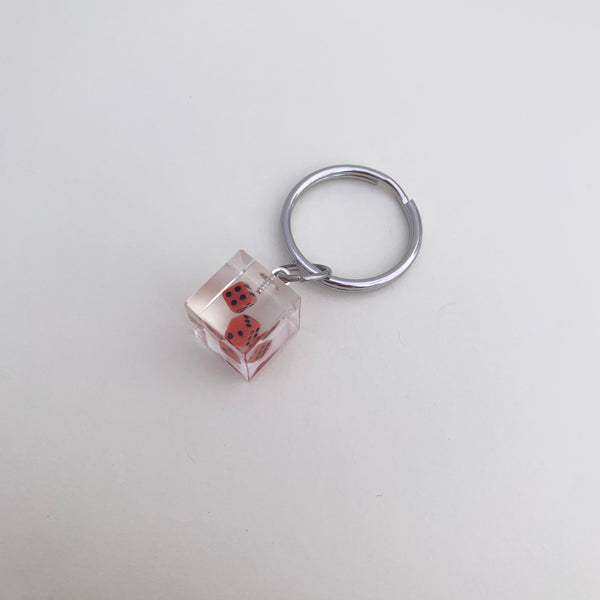 [Made To Order] Cube Keychain- Red Dice