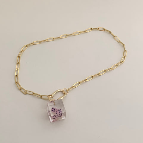 [Made To Order] Paperclip Necklace-Pink Dice