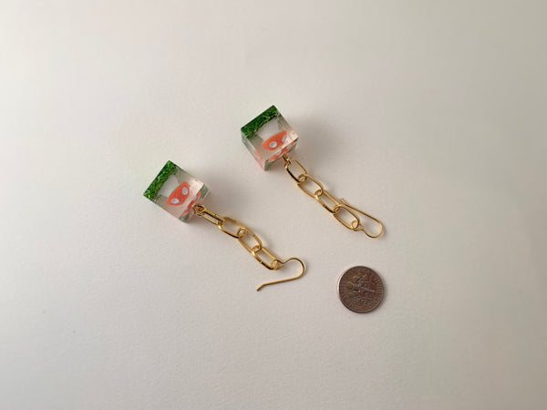 R2S: Amanita Cube Earrings-Gold Chains