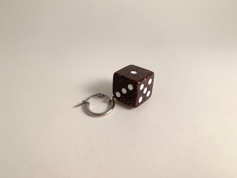 R2S: Dice Earring-Brown Glitter Single Hoop