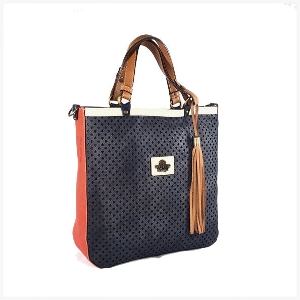 Blue cork handbag