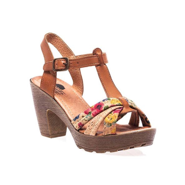 Flowers Heel Cork Shoes