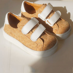 Kid White Velcro | Cork Shoes