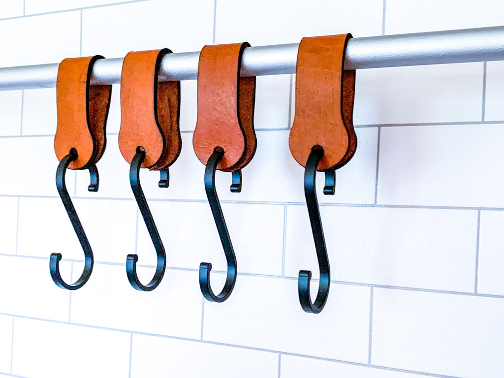 Leather Hanging Kitchen Hooks (2 pack)