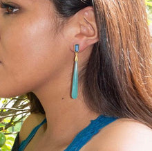 Load image into Gallery viewer, Blue Chalcedony and Glass 14 K Gold Plated Drop Earrings by the ring madam