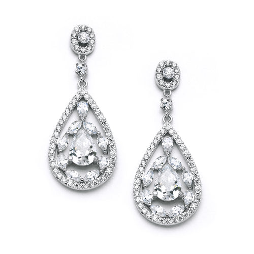 Silver Cubic Zirconia Teardrop Earrings in Mosaic Style By the Ring Madam