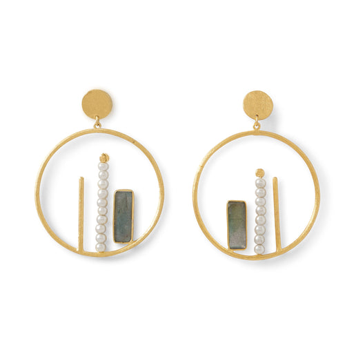 Labradorite and Freshwater Pearl 14 K Gold Plated Drop Earrings by the ring madam