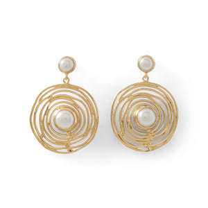 Freshwater Pearl Spiral Caged 14 K Gold Plated Drop Earrings by the ring madam
