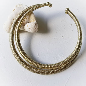 Small Textured Fish Scale Brass Collar By the Ring Madam