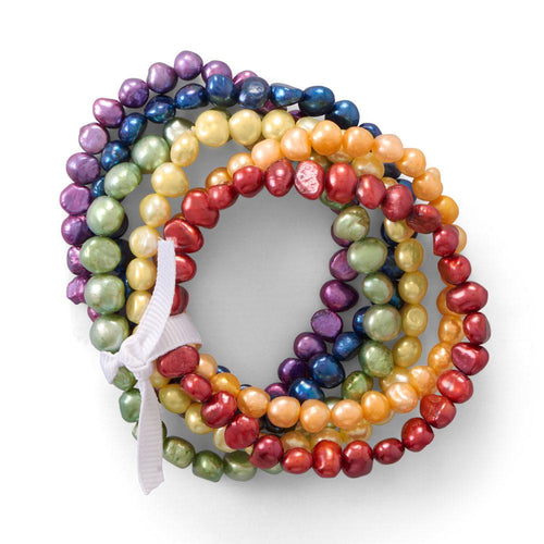 Rainbow cultured pearl stretch bracelets by The Ring Madam