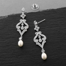 Load image into Gallery viewer, Silver CZ Scroll Earrings with Freshwater Pearl By the Ring Madam