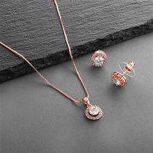 Load image into Gallery viewer, Halo Cubic Zirconia Necklace and Earring Set in 3 Finishes By the Ring Madam