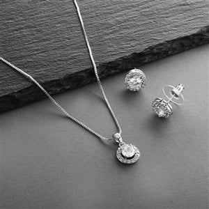 Halo Cubic Zirconia Necklace and Earring Set in 3 Finishes By the Ring Madam
