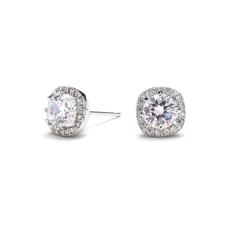Cubic Zirconia Cushion Shape 10mm Halo Stud Earrings with Round Cut Solitaire By the Ring Madam