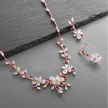 Load image into Gallery viewer, Rose Gold Finish Cubic Zirconia Vine Necklace and Earrings Set