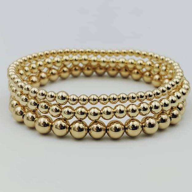 Beaded 14 Karat Gold Filled Stretch Bracelets by the ring madam