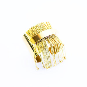 Tassel Fringe Double Cuff Bracelet in Solid Brass by the ring madam
