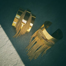 Load image into Gallery viewer, Tassel Fringe Double Cuff Bracelet in Solid Brass