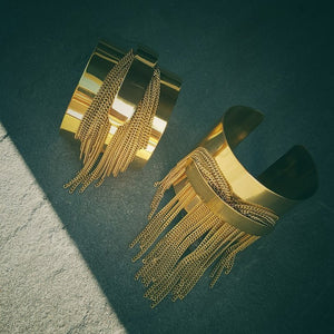 Tassel Fringe Double Cuff Bracelet in Solid Brass