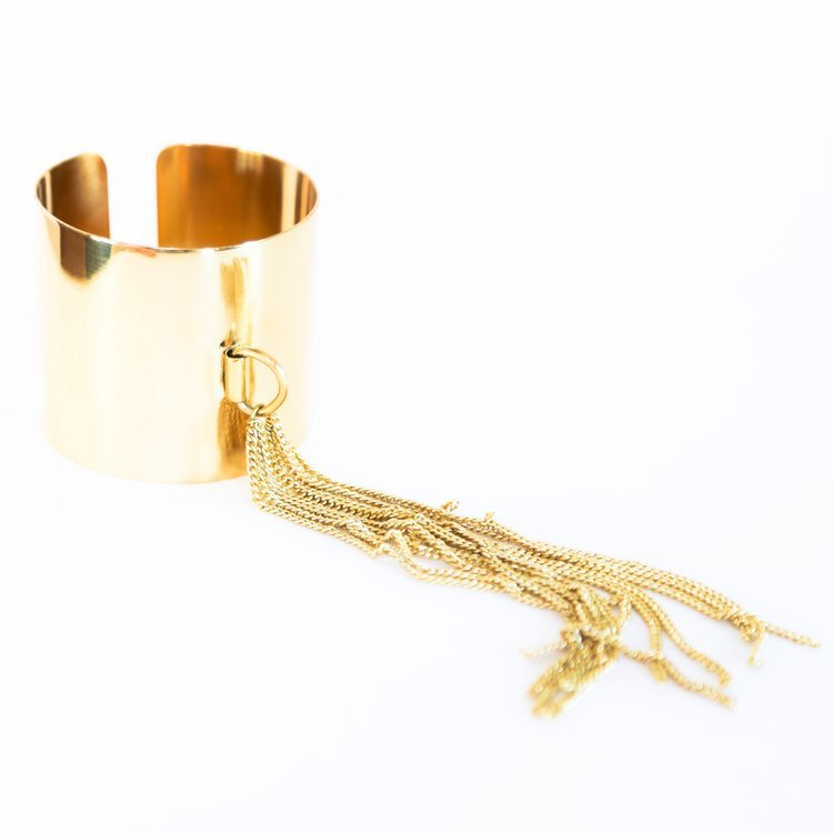 Tassel Fringe Cuff Bracelet in Solid Brass, also in Silver Finish