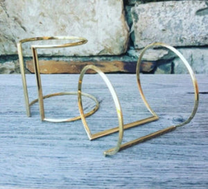 "Brass Cuff, Open Design ""Double Dealer"" in Gold Finish"