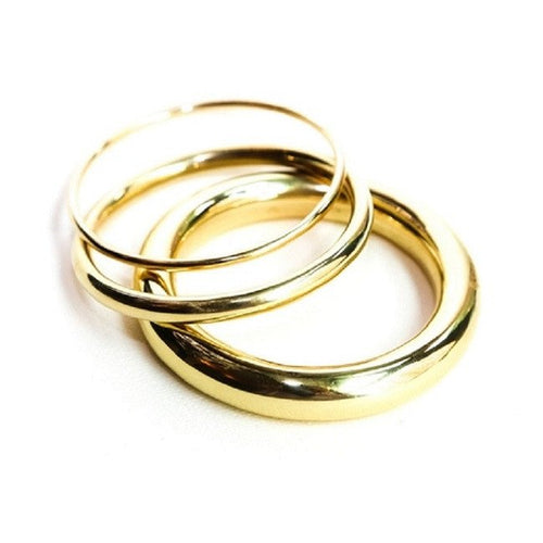 gold brass triple bangle set by the ring madam