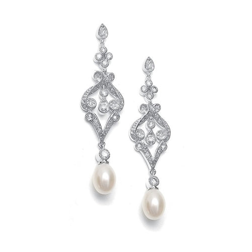 Silver CZ Scroll Earrings with Freshwater Pearl By the Ring Madam