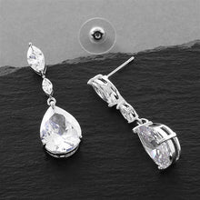 Load image into Gallery viewer, Cubic Zirconia Wedding Earrings with Dainty Marquise & Pear Drop By the Ring Madam