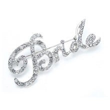 Load image into Gallery viewer, Rhinestone Bride Script Pin, perfect for bachelorette parties, bridal showers, so much fun. By The Ring Madam.