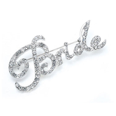 Rhinestone Bride Script Pin, perfect for bachelorette parties, bridal showers, so much fun. By The Ring Madam.