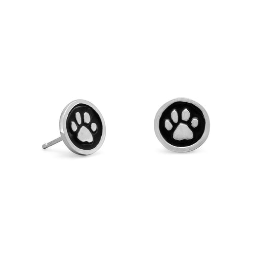 Paw Print Stud Earring in Sterling and Black Enamel, by The Ring May