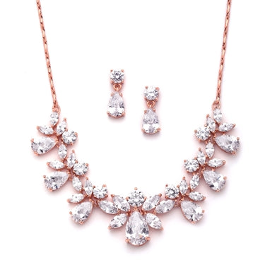 Multi Pear Shaped CZ Necklace Set in 2 Finishes By The Ring Madam