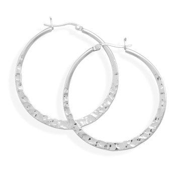 Sterling Silver Hoop Earrings with Hammered Finish 42mm