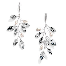 Load image into Gallery viewer, Silver Vine Bridal Earrings with Crystals & Freshwater Pearls by the ring madam