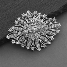 Load image into Gallery viewer, Vintage Floral Bridal Brooch in 3 Stone/Finishes by the ring madam
