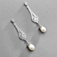 Load image into Gallery viewer, Art Deco CZ and Freshwater Pearl Drop Earrings by the ring madam