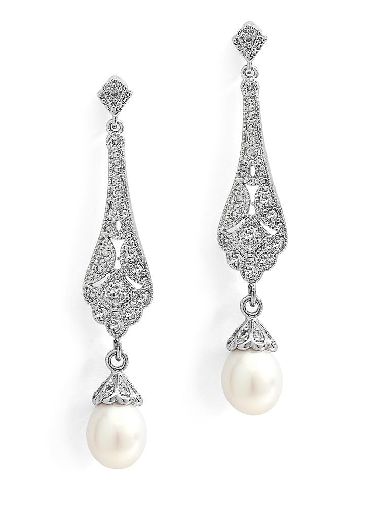 Art Deco CZ and Freshwater Pearl Drop Earrings by the ring madam