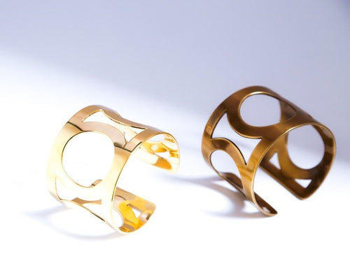 Brass Cuff, with Circle designs. Handmade Adjustable in Gold Finish by the ring madam