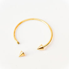 "Load image into Gallery viewer, Brass Bangle, Handmade ""Point it Out"" Adjustable in Gold Finish"