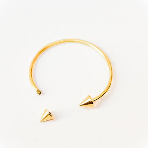 "Brass Bangle, Handmade ""Point it Out"" Adjustable in Gold Finish"